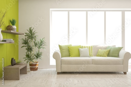 Fototapeta Stylish room in white color with sofa. Scandinavian interior design. 3D illustration obraz na płótnie