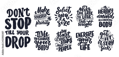 Abstract lettering set about sport and fitness for poster or print design Canvas Print
