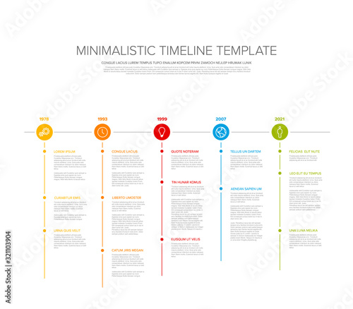 Minimalistic timeline template with circle icons Canvas Print
