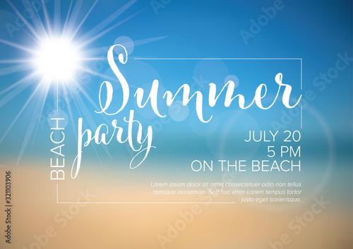 Canvas-taulu Vector summer party invitation poster template