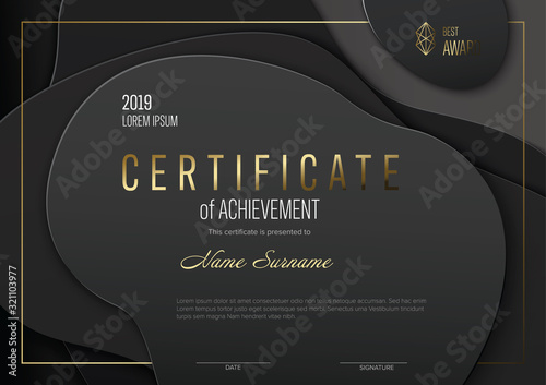 Photo Modern black certificate template with golden accent