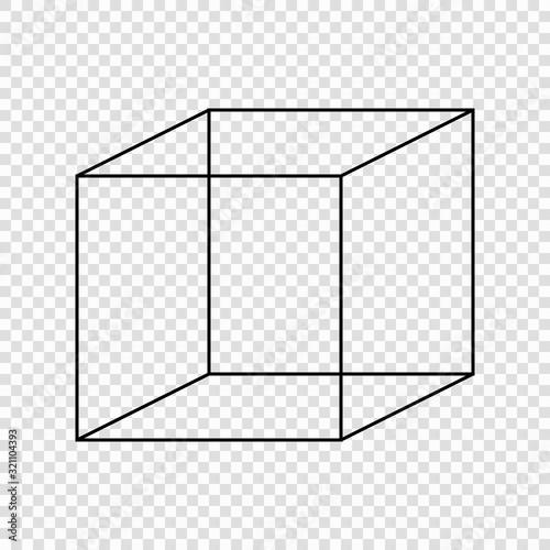 Necker cube optical illusion. Wallpaper Mural