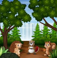 Wild Cartoon Animal On City Ba...