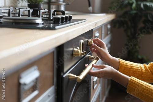 Woman using modern oven in kitchen, closeup Slika na platnu
