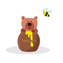 Cute Brown Bear In A Pot With Honey And A Bee, Isolated On A White Background. Vector Illustration, Hand Drawn.