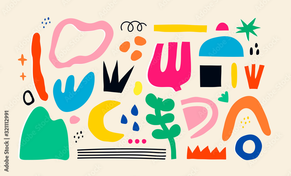 Big set of Hand drawn various colorful shapes and doodle objects. Abstract contemporary modern trendy vector illustration. All elements are isolated