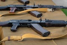 Kalashnikov Assault Rifles On The Table