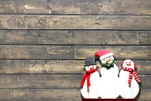 Wooden Background Christmas Ho...