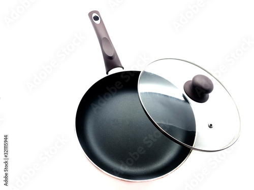 Fotomural Black pan and lid isolated on white background
