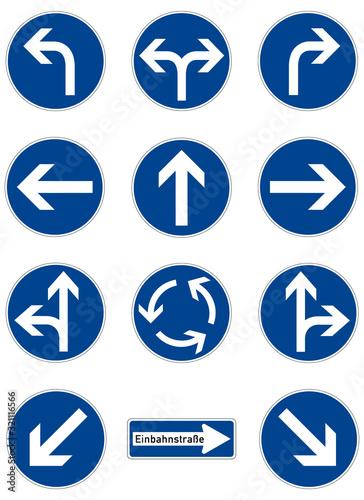 Set of road signs Fotobehang