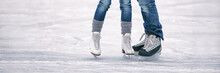 Ice Skating Outoor Rink Panoramic Banner Of People Tourists Skates Learning To Skate Romantic Couple Winter Activity Panorama.