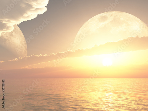 Fototapeta Beautiful sunrise or sunset on a far away planet obraz