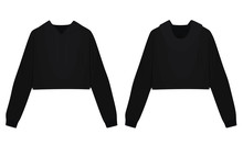 Woman Black Crop Hoodie. Vecto...