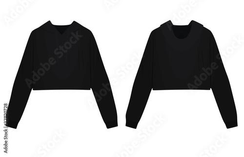 Woman black crop hoodie. vector illustration Tableau sur Toile