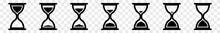 Hourglass Icon Black | Hourglasses | Time Symbol | Sandglass Logo | Clock Sign | Timer | Isolated Transparent | Variations