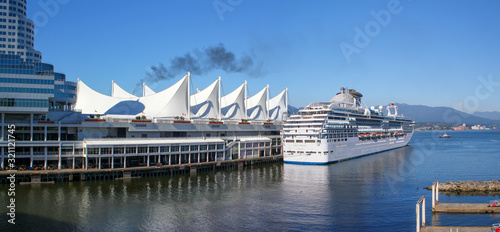 Vancouver Harbour with Cruise ship Wallpaper Mural