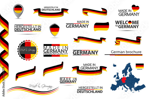 Fotomural Big vector set of German ribbons, symbols, icons and flags isolated on a white b