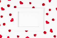Elegant Composition For Valentine's Day. Empty Paper Blank, Red Hearts, Rose Petals On White Background. Valentine Day, 8th March, Mother Day Background. Love Concept. Flat Lay, Top View, Copy Space