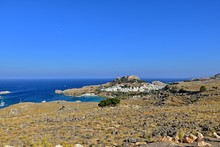 Summer Landscape Of The Greek Island Of Rhodes With Blue Cloudless Sky And Sea