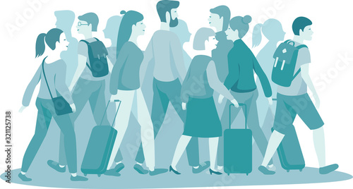 crowd of people with luggage monocolor vector illustration