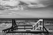 Seaside Landscape With Wooden...