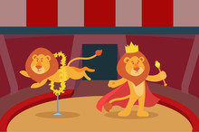 Lions Trick Animal Fire Performance In Circus Arena Vector Illustration. Fun Art Entertainment Festive Carnival Wild Jumping Lion Trained Cute Artist Show With Burning Ring.