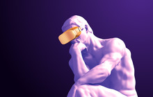 Sculpture Thinker With Golden VR Glasses On Purple Background