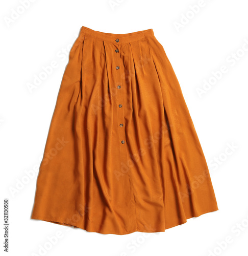 Obraz na plátně Elegant long orange skirt isolated on white, top view