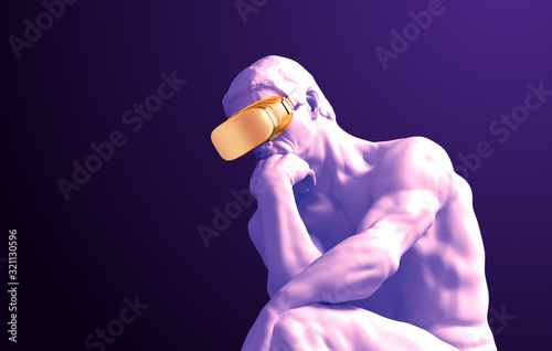 Fotografiet Sculpture Thinker With Golden VR Glasses On Purple Background