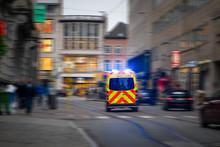 Back View Of Emergency Ambulan...