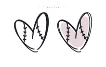 Baseball Love. Heart For Valentine's Day. Sports Vector Illustration. Logo For Poster Design, Postcard, Print For T-shirts.