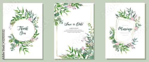Set of three wedding cards, watercolor greenery and golden frames