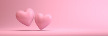 Two 3d Hearts On A Clean Pink ...