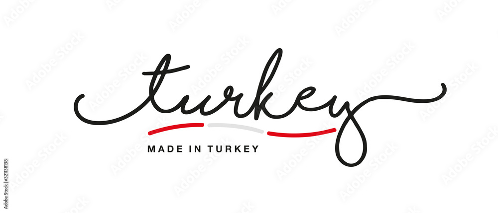 Fototapeta Made in Turkey handwritten calligraphic lettering logo sticker flag ribbon banner