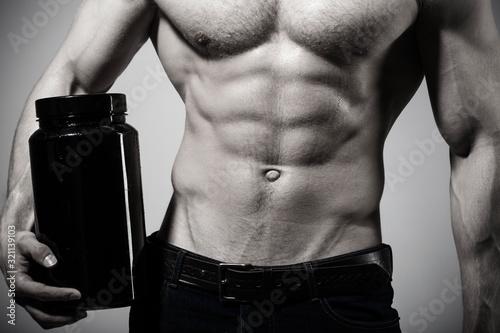 Εκτύπωση καμβά Sportsman, muscles, athlete man, triceps
