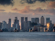 europe, UK, England, London, Canary Wharf frm Woolwich 2020 dusk