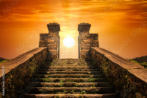 A stairway  toward to the sun like a portal to the heaven