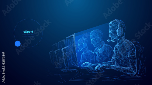 Fotografía Cybersport low poly wireframe banner vector template