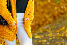 Woman Wearing Orange Autumn Cardigan Outdoor