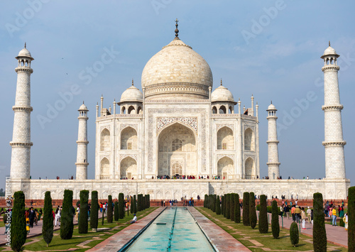 India, Agra - January 7 2020 - The imposing Taj Mahal Canvas Print