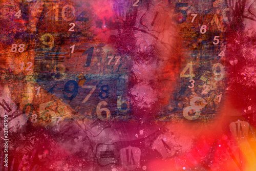 Fototapety, obrazy: Red background with clocks and numbers.