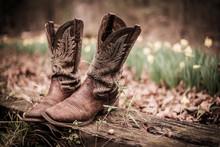 Worn Western Style Cowboy Boot...