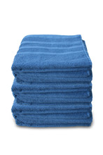 Pile Of Clean Terry Bath Blue Towels Isolated On White Background, Close-up, Copy Space, Concept Of Cleanliness, Bath Procedure, Spa