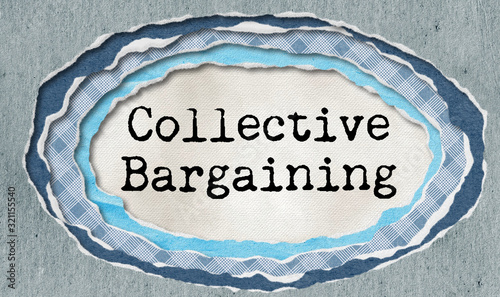 Photo Collective bargaining - typewritten word in ragged paper hole background - conce