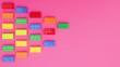 Bricks toys make triangle on left side of pink background - Stop motion
