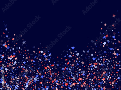 Flying red blue white star sparkles vector american patriotic background Tablou Canvas
