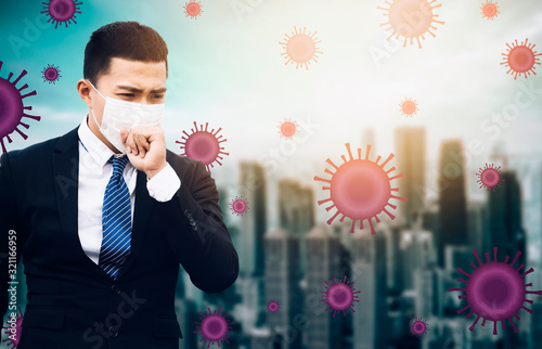 stressed business man wearing Protection Mask against flu virus  background Tablou Canvas