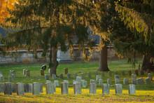 Tombstones In Warm Evening Light An Antietam National Cemetery In Sharpsburg, Maryland, USA