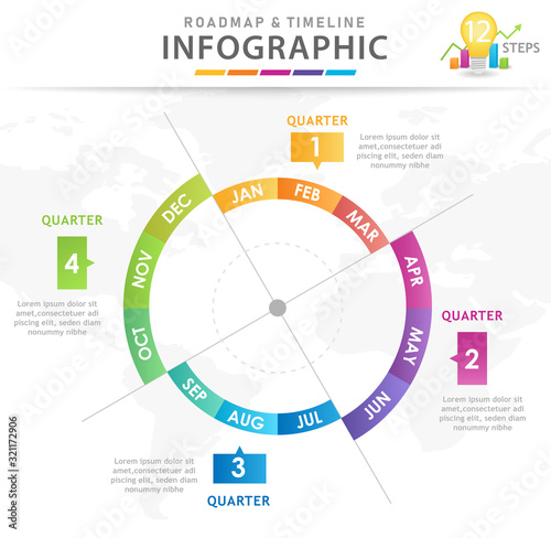 Fototapeta Infographic template for business. Modern Timeline diagram calendar with quarters, presentation vector infographic. obraz