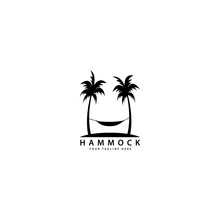 Hammock Logo Design With Outdoor Palm Trees